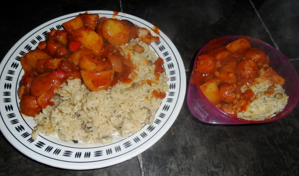 Jamaican mini meatballs with rice and peas toddler meal