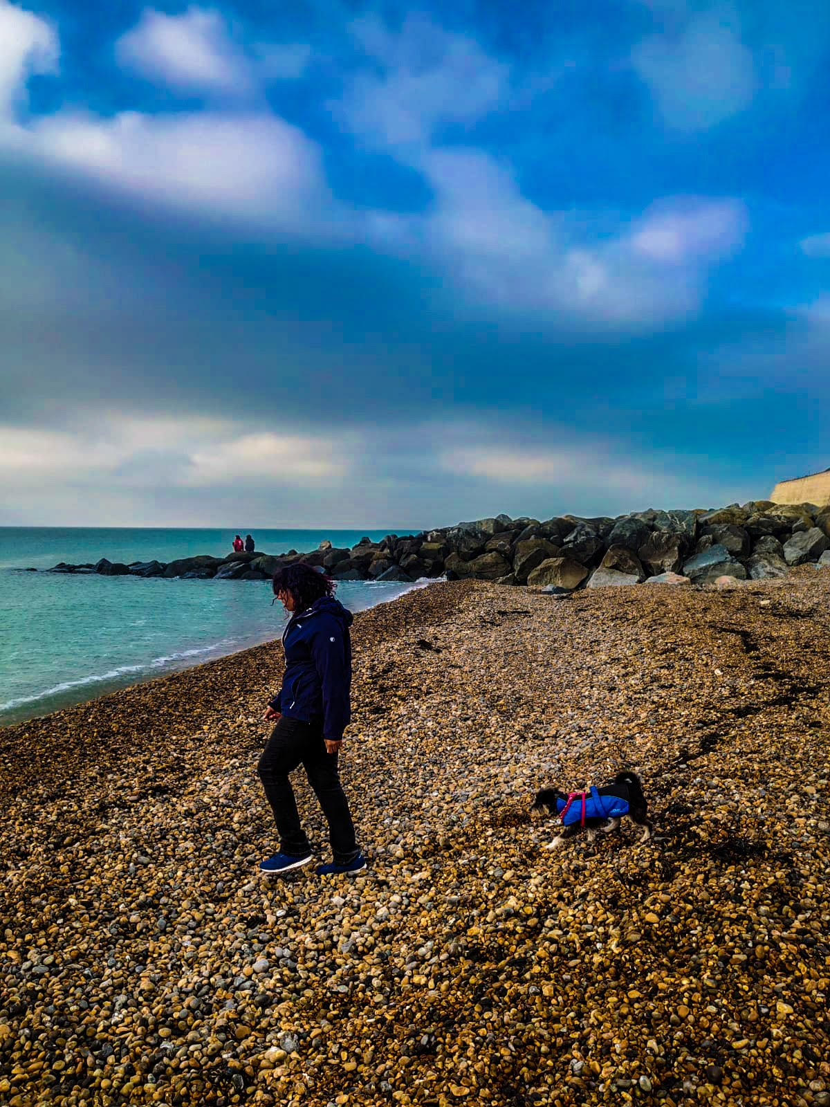 Woman and dog walking on the pebbled beach