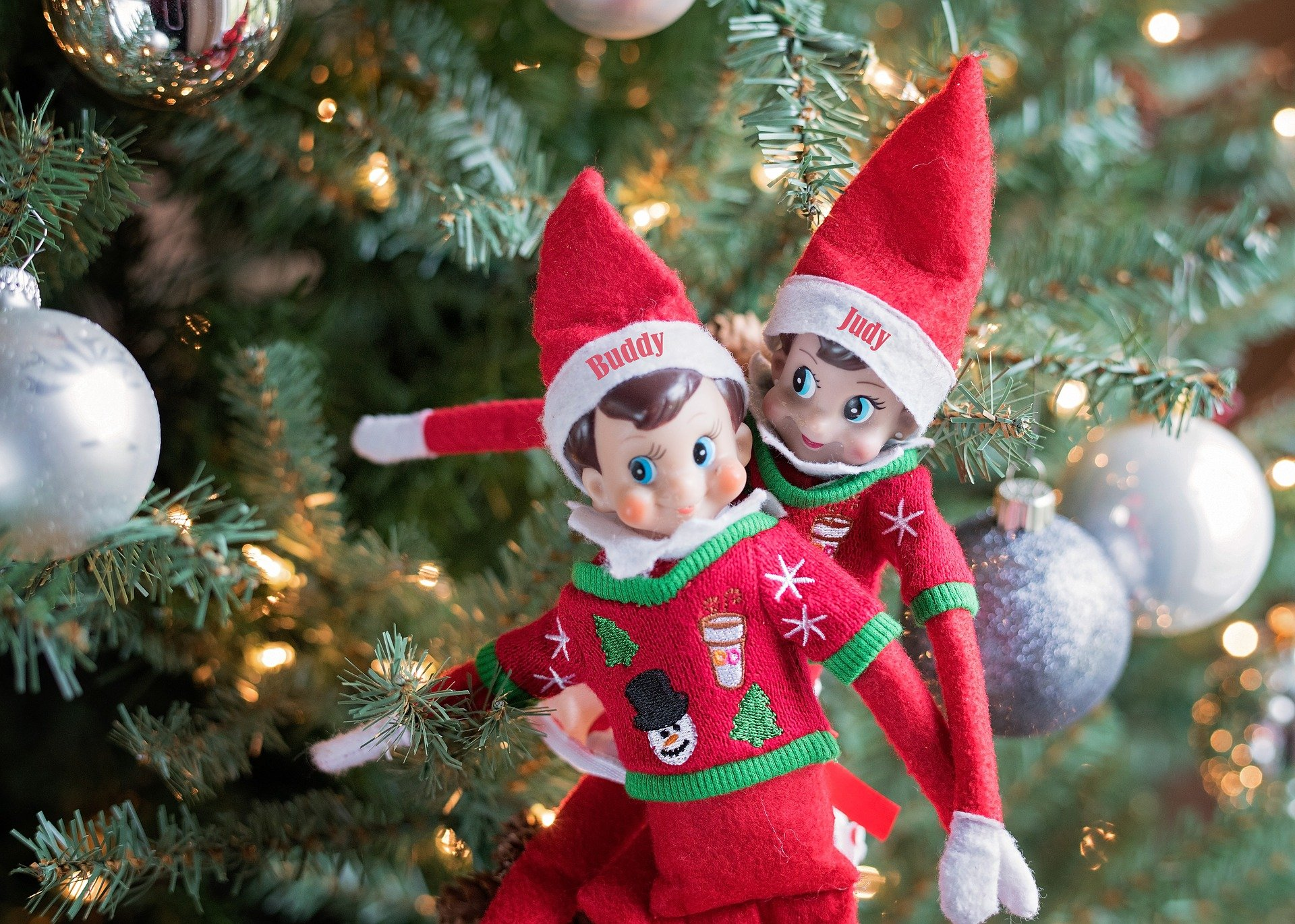 2 toy elves on a tree