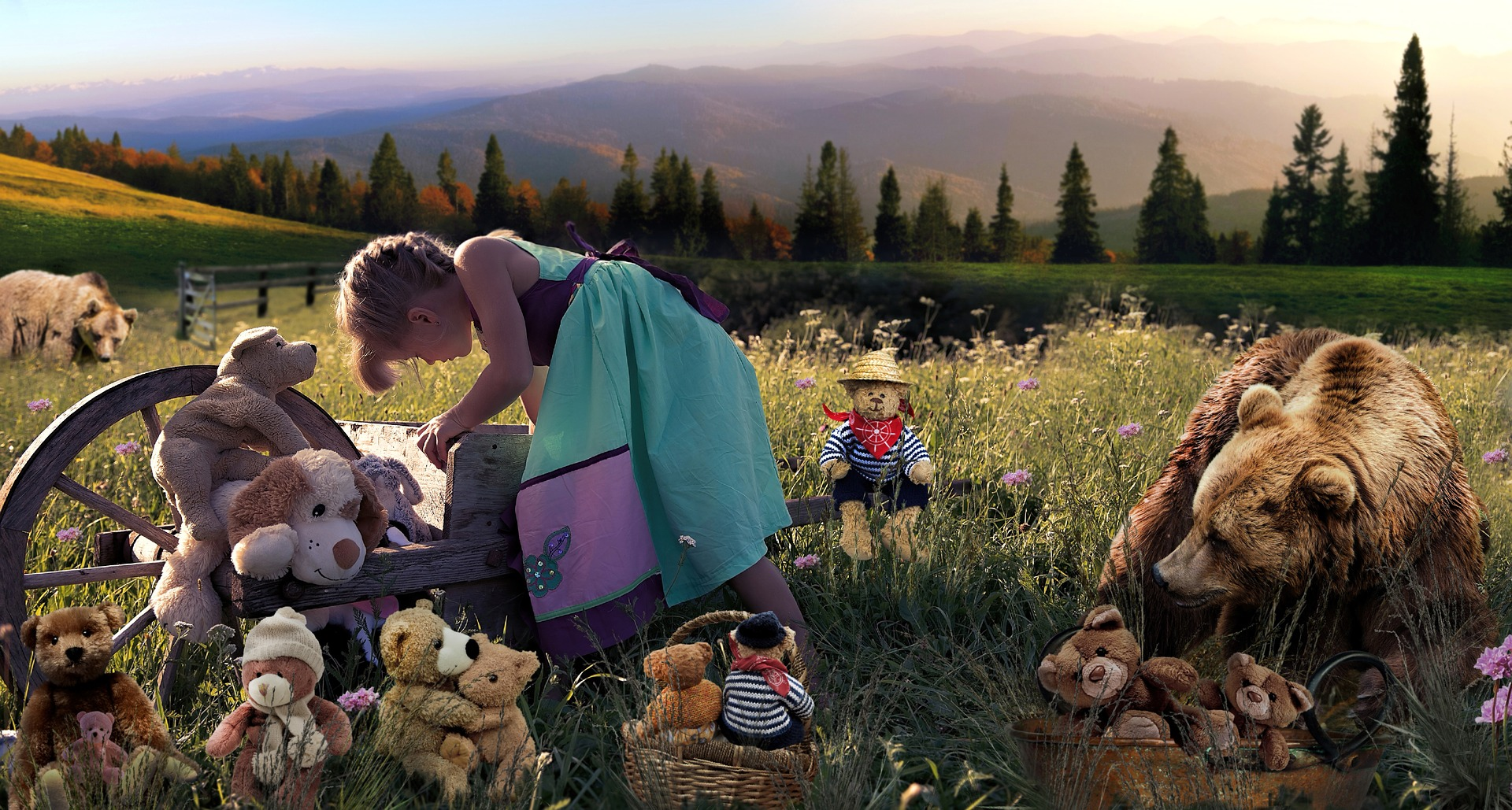 Child with teddies in field